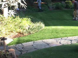 Flagstone Pathway and Artificial Grass.