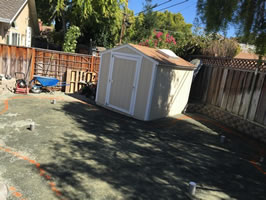 Santa Clara backyard before putting green installation.