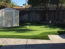 Santa Clara backyard after 4-Hole Putting Green installation.