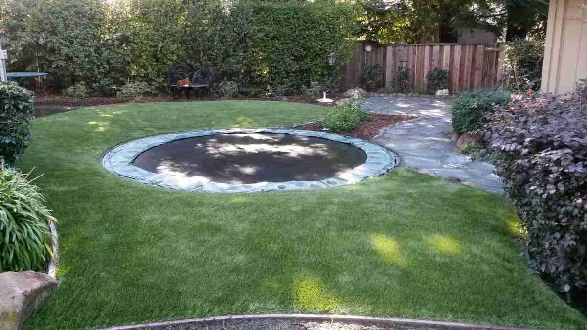 Danville Ca Artificial Turf Around Trampoline In Backyard