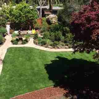 Palo Alto Ca Backyard With Synthetic Grass Amp Flagstone Path