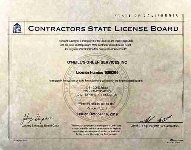 O'Neill's Green Services Contractors License Number 1059264